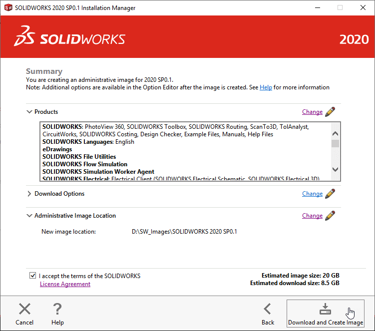 Accept SOLIDWORKS Terms