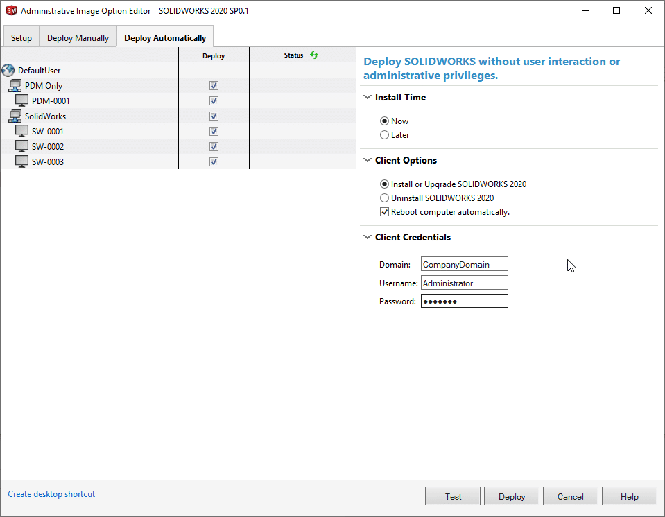 Deploy SOLIDWORKS Automatically