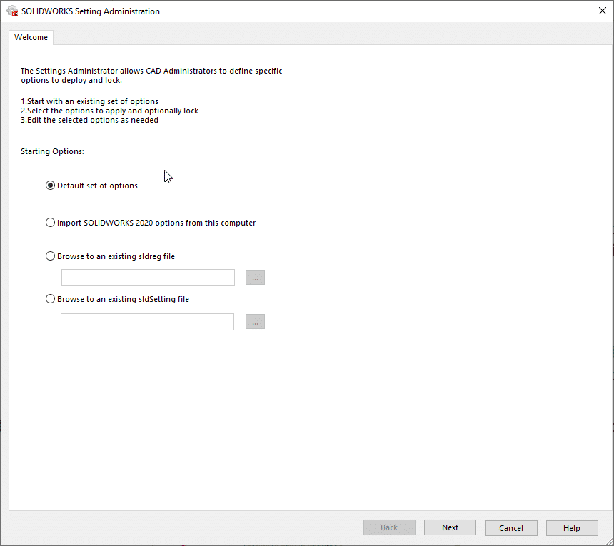 Establish SOLIDWORKS settings file