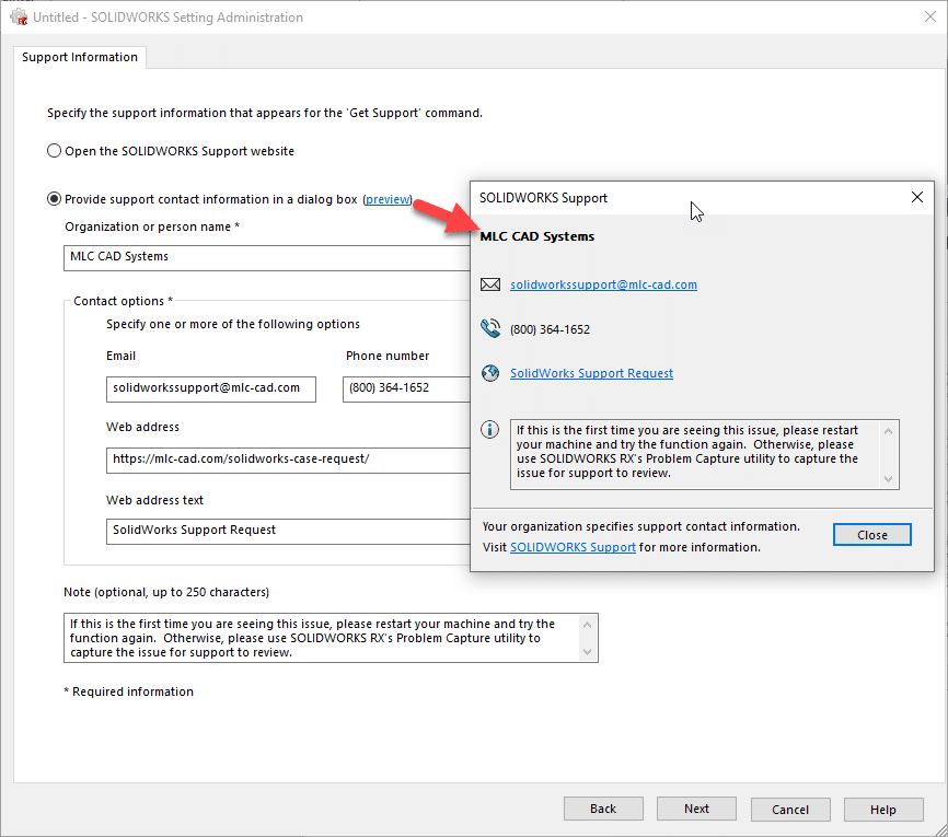 Preview SOLIDWORKS Settings