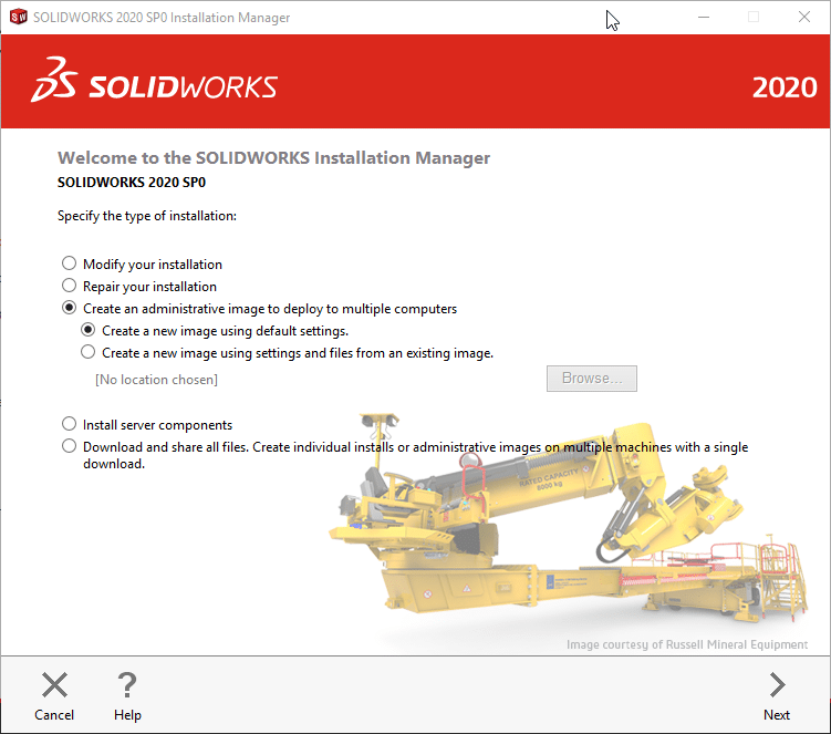 SOLIDWORKS 2020 Installation manager