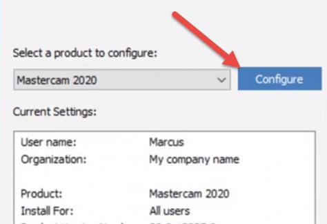 Mastercam 2020 Configure
