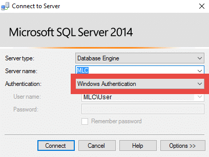 Microsoft SQL Server Windows Authentication