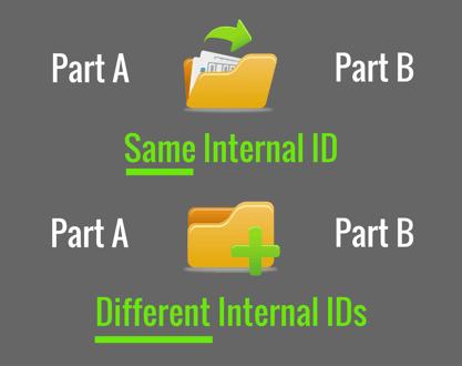 Same internal ID vs different internal ID