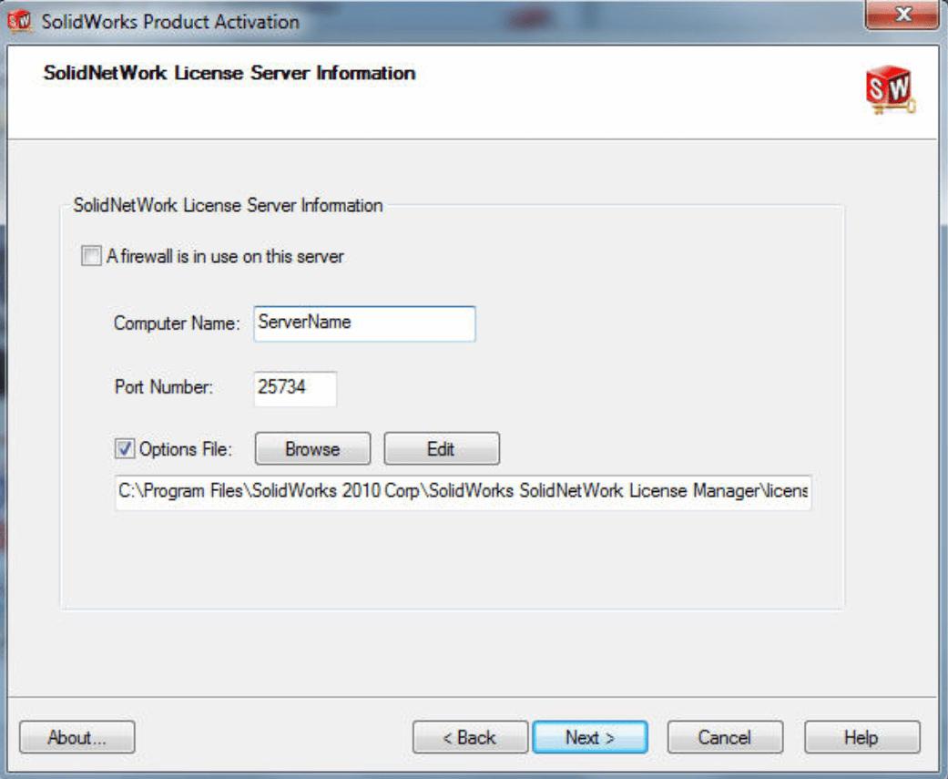 SolidNet Work License Server Information