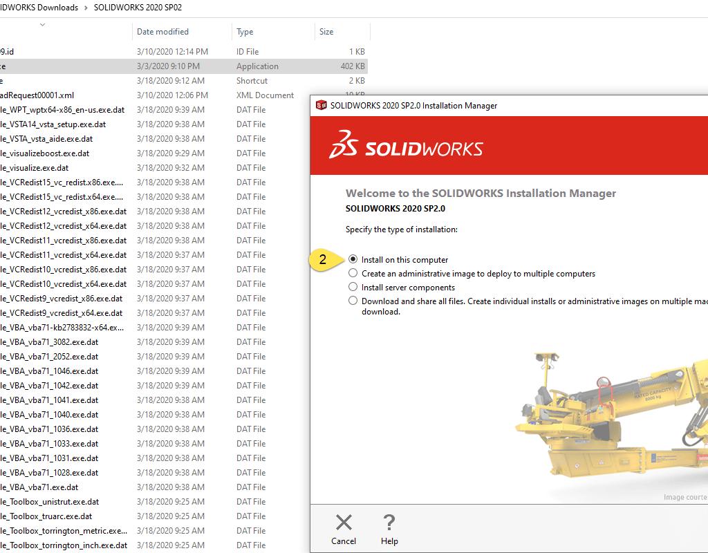 SOLIDWORKS Installation media setup.exe file