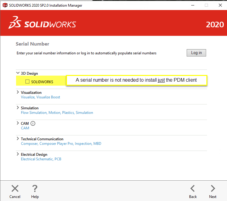 SOLIDWORKS Serial Number not needed