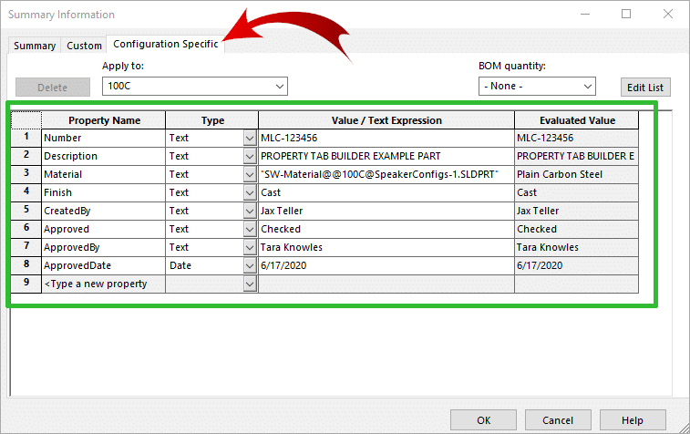 SOLIDWORKS Configuration Summary