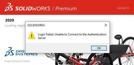 error message SOLIDWORKS login failed