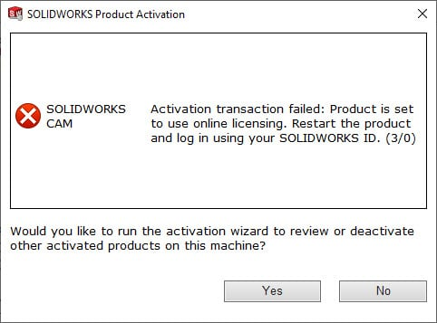 solidworks activation transfer failed