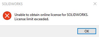 unable to obtain solidworks online license