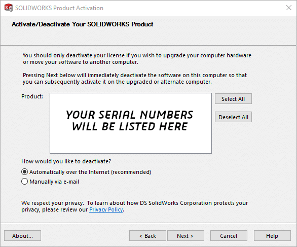 Activate or deactivate your SOLIDWORKS licenses